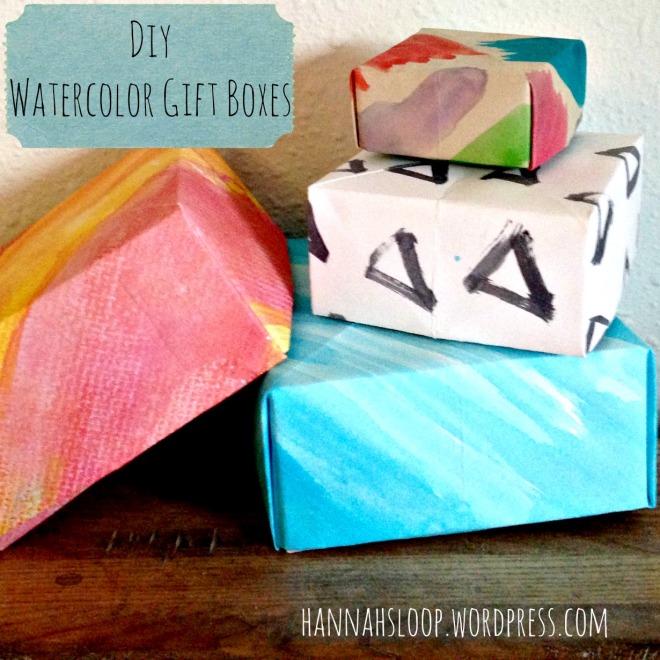 diy watercolor gift boxes