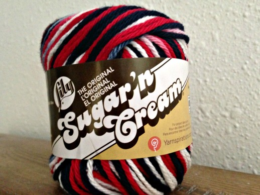 red,white & blue yarn