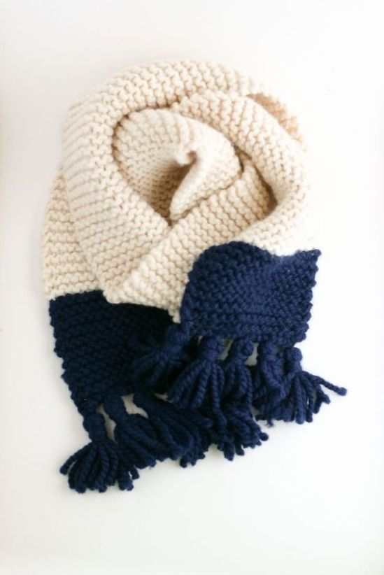 knitted color block scarf